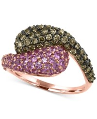 Effy Collection Effy Espresso Diamond 1 Ct. T.W. And Pink Sapphire 1 1 4 Ct. T.W. Ring In 14K Rose Gold