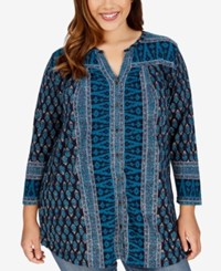 Lucky Brand Trendy Plus Size Geo Print Peasant Tunic Shirt Teal Multi