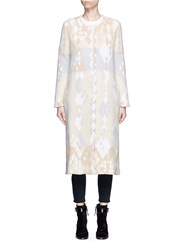 Peter Pilotto Diamond Pattern Ottoman Knit Coat Multi Colour Neutral