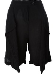 Lost And Found Draped Front Shorts Black