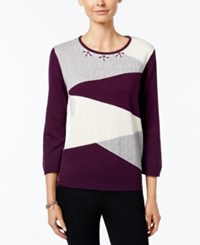 Alfred Dunner Colorblocked Beaded Neck Sweater Amethyst