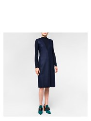 Paul Smith Women's Navy Wool Dress With Knitted Sleeves Blue