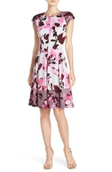 Women's Maggy London Mixed Print Scuba Fit And Flare Dress