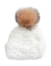 Surell Rabbit And Fox Fur Ski Hat White