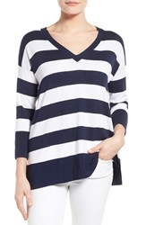 Women's Tommy Bahama 'Pickford' Stripe V Neck Pullover Ocean Deep