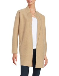 Lord And Taylor Merino Wool Open Front Cardigan Classic Camel Heather