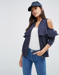 Asos Bomber Jacket With Ruffle Cold Shoulder Navy