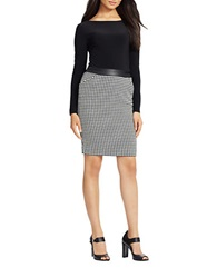 Lauren Ralph Lauren Petite Houndstooth And Leatherette Two Tone Sheath Dress Black Houndstooth