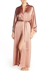 Women's Josie Natori Silk Charmeuse Robe Blush