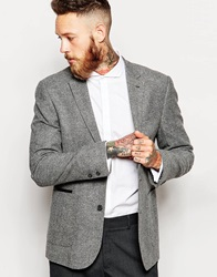 Asos Slim Fit Blazer In Tweed Grey