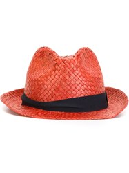 Hackett Straw Trilby Hat Red