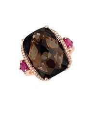 Marco Moore Smoky Quartz Diamond And 14K Rose Gold Ring Brown