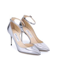 Jimmy Choo Lucy Metallic Ankle Strap Pump Silver