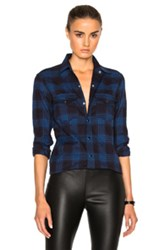 Saint Laurent Winter Check Western Shirt In Blue Checkered And Plaid Blue Checkered And Plaid