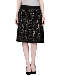 Rose Knee Length Skirts Black