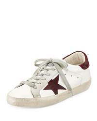 Golden Goose Distressed Leather Star Low Top Sneaker White Purple White Purple