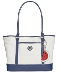 Giani Bernini Canvas Fruit Large Tote Only At Macy's Nat Ink Blue