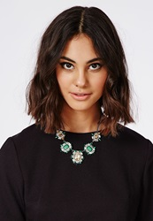 Missguided Amiee Gem Statement Necklace Green