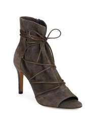 Vince Adisa Suede Lace Up Peep Toe Booties Sand Dark Smoke