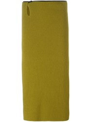 Petar Petrov Ribbed Midi Skirt Green