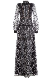Giambattista Valli Embroidered Lace Evening Gown With Sequin Embellishment Black