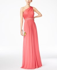 Adrianna Papell Embellished One Shoulder Gown French Coral