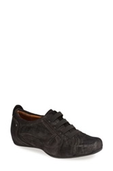 Earthies 'Ronda' Pearlized Suede Lace Up Flat Black