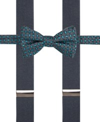 Alfani Men's Mars Neat Pre Tied Bow Tie And Suspender Set Only At Macy's Aqua