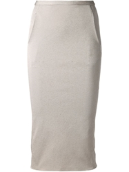 Rick Owens Fitted Midi Skirt Grey