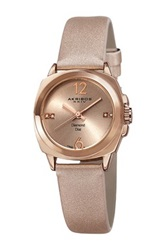 Akribos Xxiv Women's Satin Quartz Strap Watch Pink