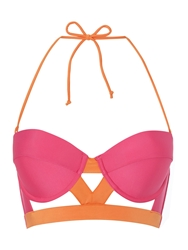Lipsy Caged Cut Out Halter Bikini Top Hot Pink