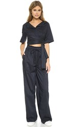 3.1 Phillip Lim Open Neck Jumpsuit With Tie Ink Lavender