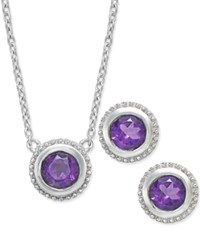 Macy's Amethyst Pendant Necklace And Earrings Set 1 1 6 Ct. T.W. In Sterling Silver