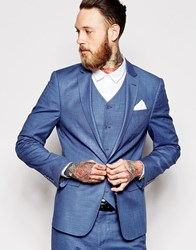 Asos Skinny Suit Jacket In Blue Blue