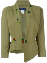 Thierry Mugler Vintage Sequin Flower Applique Blazer Green