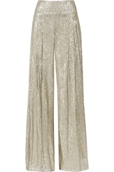 Oscar De La Renta Pleated Lame Wide Leg Pants