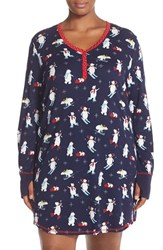 Plus Size Women's Pj Salvage Thermal Knit Sleep Shirt Navy Bears