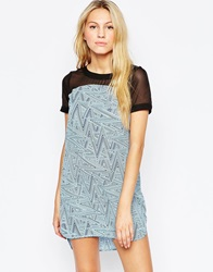 Neon Rose Shift Dress With Zig Zag Print Panel Blueblack