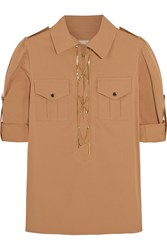 Michael Kors Chain Embellished Stretch Cotton Shirt Brown