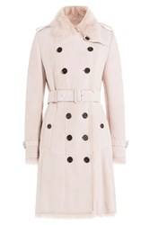 Burberry London Suede Coat With Fur Collar Rose