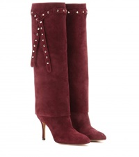 Valentino Embellished Suede Knee High Boots Red