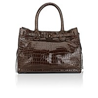 Zagliani Women's Crocodile Gatsby Small Tote Brown