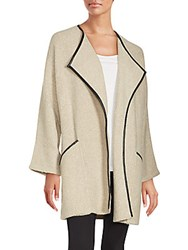 Saks Fifth Avenue Solid Open Front Jacket Oatmeal