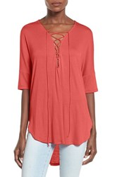 Women's Lush Lace Up Tee Coral