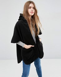 Asos Hooded Cape With Pockets Black