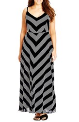 City Chic Plus Size Women's 'French Kiss' Mitered Stripe Maxi Dress Black