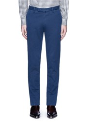 Incotex Slim Fit Cotton Herringbone Chinos Blue
