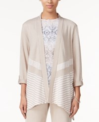 Alfred Dunner Petite Acadia Striped Open Front Cardigan Fawn