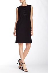 Marc New York Sleeveless Snap Front Stitch Shift Dress Black