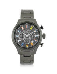 Nautica Nct 16 Brushed Gunmetal Stainless Steel Men's Chronograph Watch